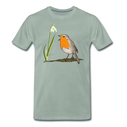 Frühling, Rotkehlchen, Schneeglöckchen - Männer Premium T-Shirt