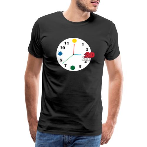 3D o'clock - with numbers and shapes - Men's Premium T-Shirt