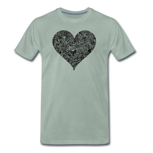 Herz Doodle Style - Männer Premium T-Shirt