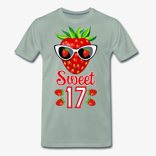 02 Sweet 17 Erdbeere Sonnenbrille Geburtstag - Männer Premium T-Shirt