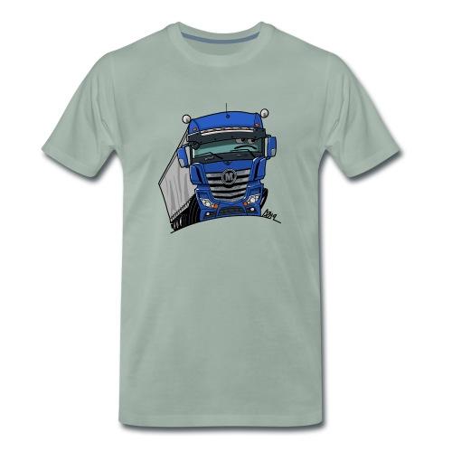 0807 M truck blauw trailer - Mannen Premium T-shirt