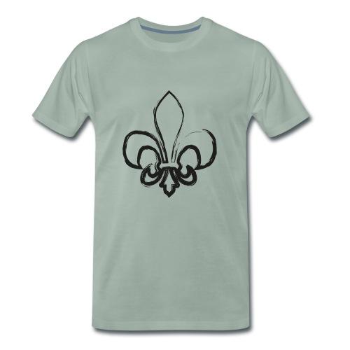 Pinselzeichnung Lilie – Schwarz - Männer Premium T-Shirt