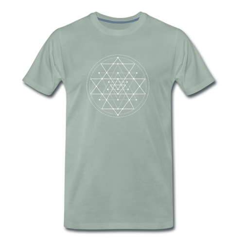 Valkoinen geometrinen Shri Yantra -kuvio - Miesten premium t-paita