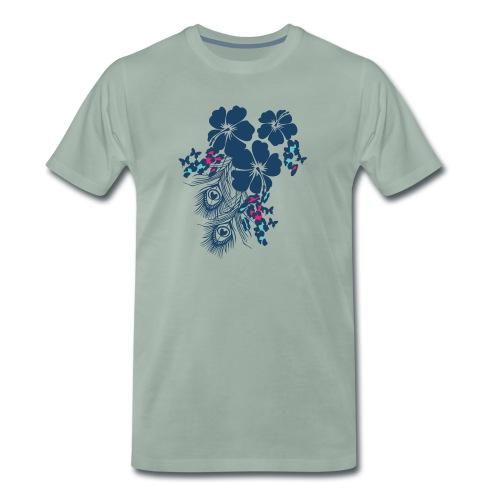 9panter mixed flower roze - Mannen Premium T-shirt