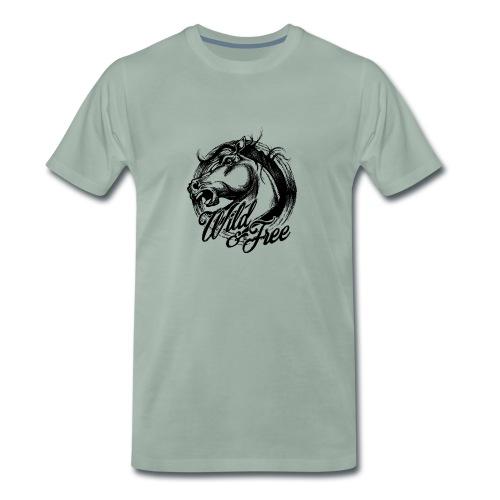 Pferdekopf - Wild & Free - Wild & Frei - Männer Premium T-Shirt