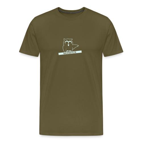 Eule mit Label nah dran 1c klein - Männer Premium T-Shirt