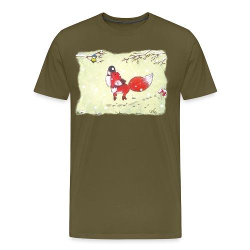 Hopsender Fuchs im Schnee - Männer Premium T-Shirt