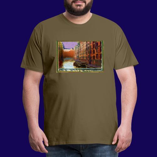 Hamburg: Speicherstadt als Künstler-Grafik - Männer Premium T-Shirt