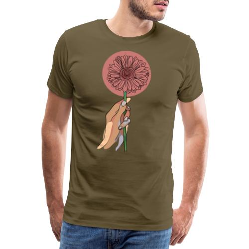Holding flowers - Herre premium T-shirt