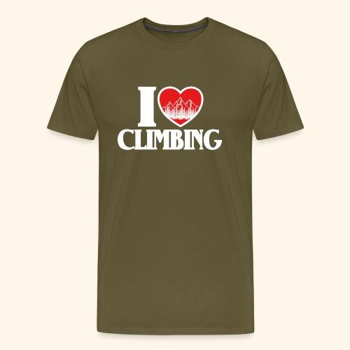 I Love Climbing Ich liebe Klettern Herz Berge Wald - Männer Premium T-Shirt
