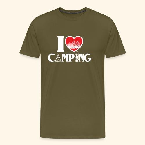 I love camping Herz Berge Zelt Lampe Tent Woods - Männer Premium T-Shirt