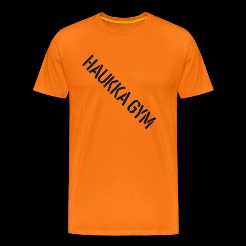 HAUKKA GYM text - Miesten premium t-paita