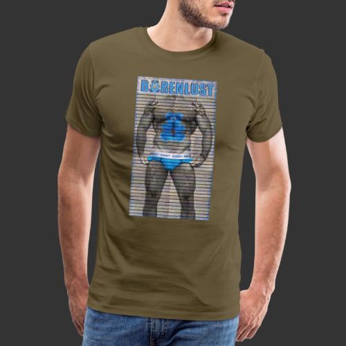 Bärenlust Motiv - Kerl auf Holzwand - Männer Premium T-Shirt