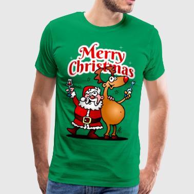 Merry Christmas - Święty Mikołaj i jego renifery - Koszulka męska Premium