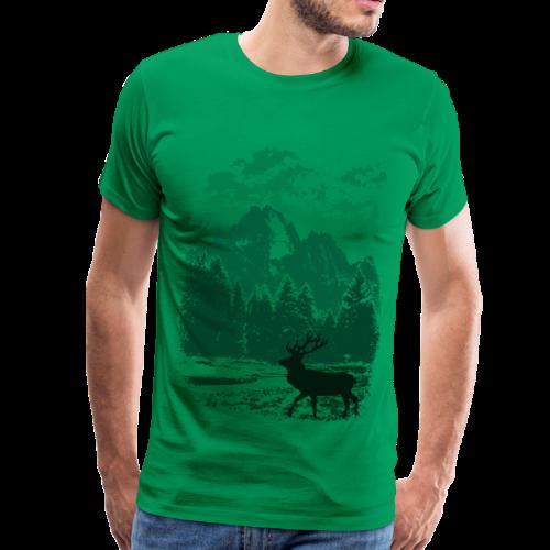 Bergwald und Rothirsch (Grün) - Männer Premium T-Shirt