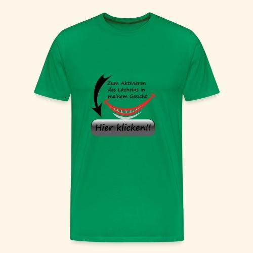 Lächeln Lachen Button Freude Gesicht Spaß flirten - Männer Premium T-Shirt