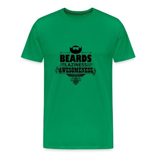 beards_laziness_awesomeness 10x - Miesten premium t-paita