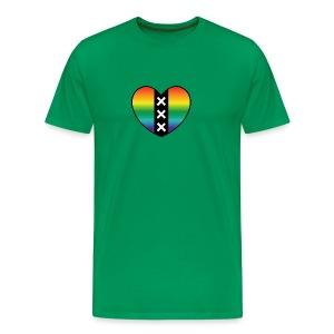 Hart Amsterdam in regenboog kleuren - Mannen Premium T-shirt