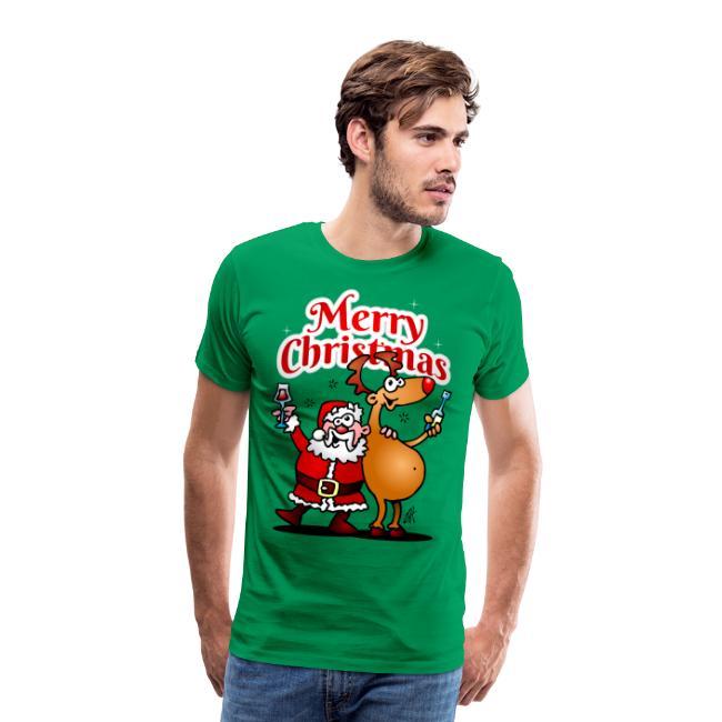 Merry Christmas - De Kerstman en zijn rendier - Mannen Premium T-shirt