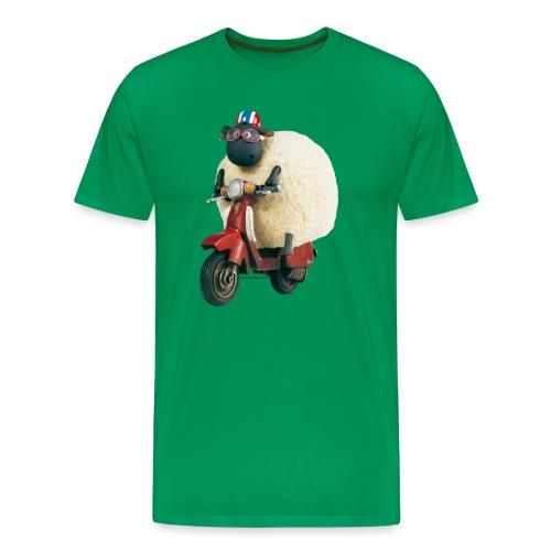 Shaun das Schaf Stoffbeutel - Shirley auf Motorrad - Männer Premium T-Shirt