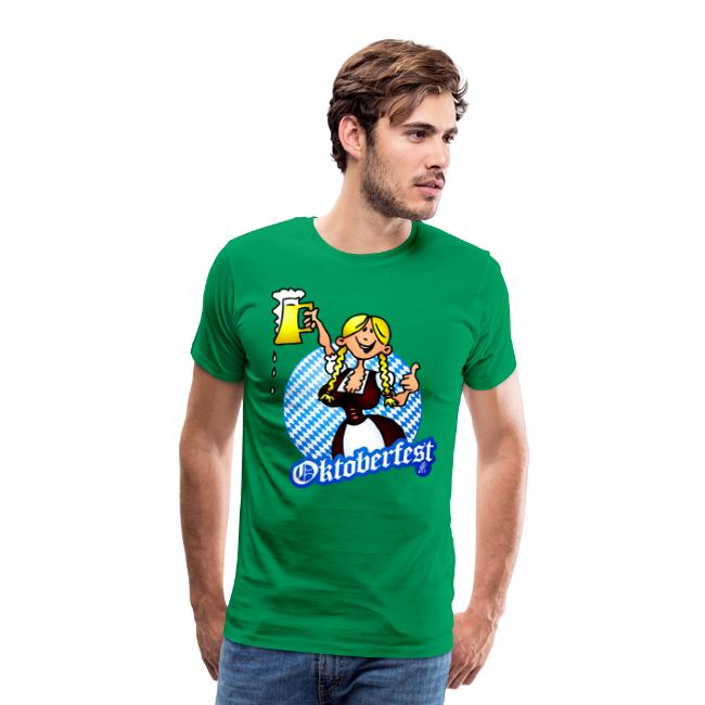 Oktoberfest - meisje in een dirndl - Mannen Premium T-shirt