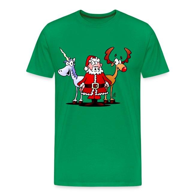 Weihnachtsmann, Rentier, Einhorn - Männer Premium T-Shirt