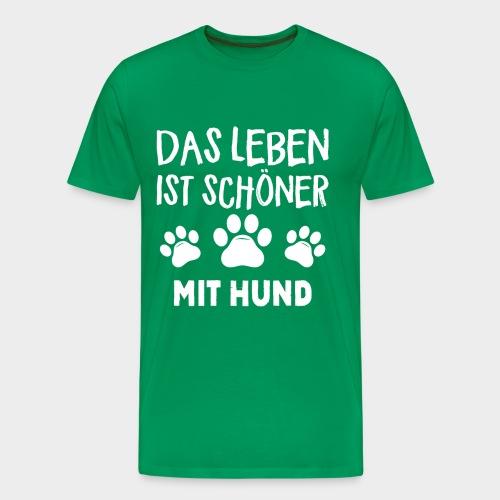 Das Leben ist schöner Mit Hund Geschenk Hundliebe - Männer Premium T-Shirt