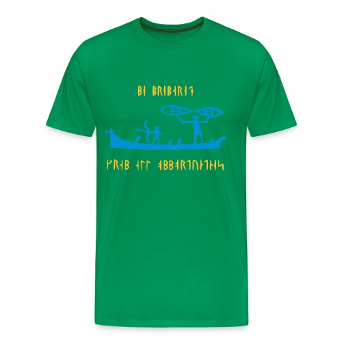 Vikings on a boat with runic text - Men's Premium T-Shirt