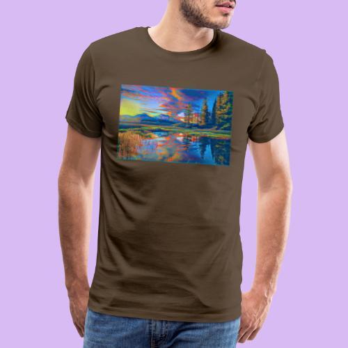 Paesaggio al tramonto con laghetto stilizzato - Maglietta Premium da uomo