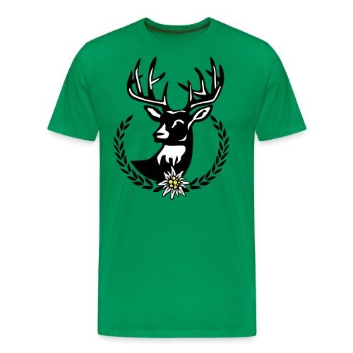 Hirsch Lorbeerkranz Wiesn Edelweiss - Männer Premium T-Shirt
