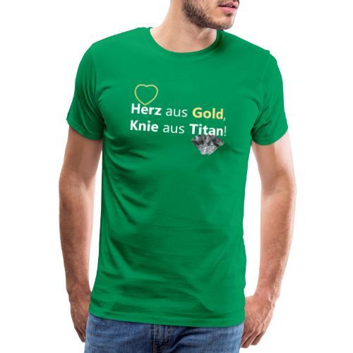 Knie-Operation, Titanknie, Herz Gold, Knie Titan - Männer Premium T-Shirt