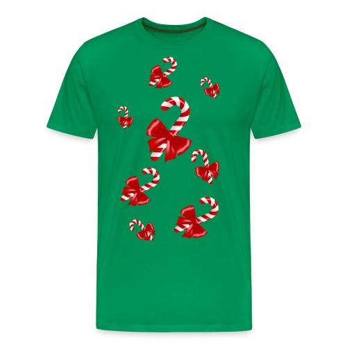Cannes à sucre de Noël avec Nœuds rouges - T-shirt Premium Homme