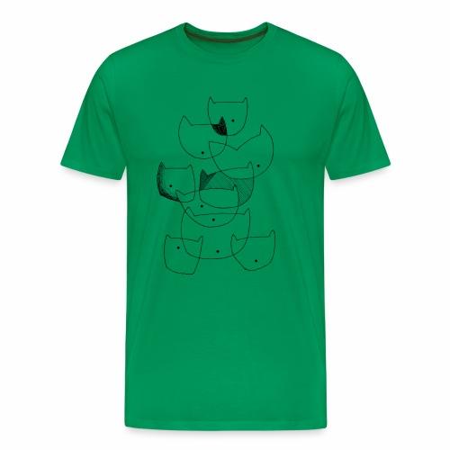 cats black line - katten zwarte lijn - Mannen Premium T-shirt