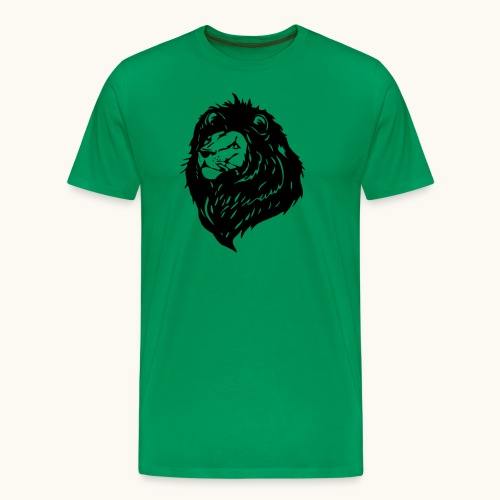 Lions tête fièrement élevés avec crinière noire - T-shirt Premium Homme