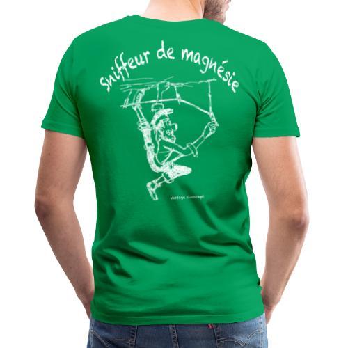 Esquisse grimpeur blanc Sniffeur de magnesie - T-shirt Premium Homme