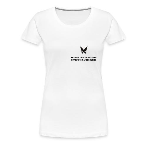 Defakator : logo et devise sur fond blanc - T-shirt Premium Femme