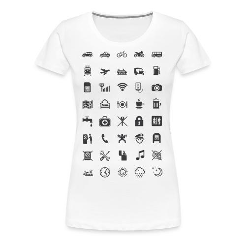 T-shirt för resan med mörka ikoner - Premium-T-shirt dam