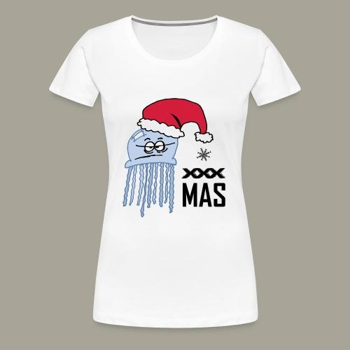 Qualle mit Weihnachtsmütze X MAS - Frauen Premium T-Shirt