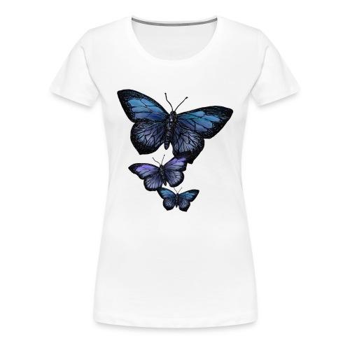 Schmetterling Tier Vintage Fliegen Blumen Retro - Frauen Premium T-Shirt