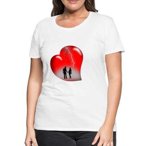 t shirt coeur rouge coup de foudre eclairs - T-shirt Premium Femme