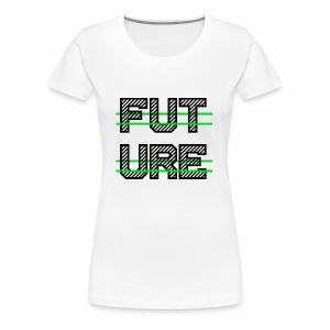 Future Clothing - Green Strips (Black Text) - Women's Premium T-Shirt