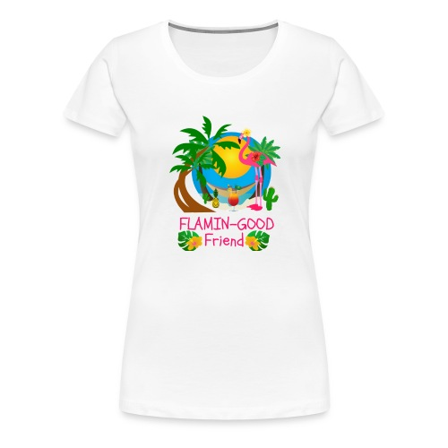 Cute Tropical Flamingo Hawaiian Design Sister Gift - Women's Premium T-Shirt