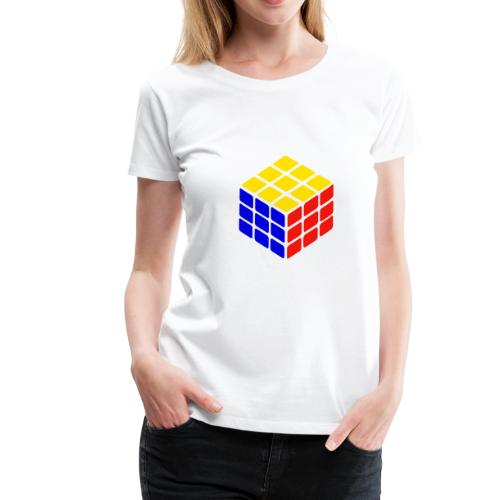 blue yellow red rubik's cube print - Women's Premium T-Shirt