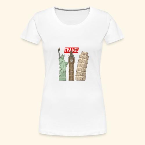Travel New York, London, Pisa - Frauen Premium T-Shirt