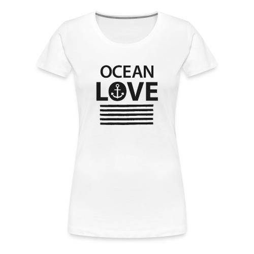 OCEAN LOVE - Anker und maritime Streifen - Frauen Premium T-Shirt