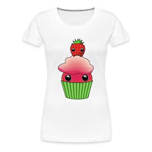 Kawaii cupcake with one strawberry - Premium-T-shirt dam