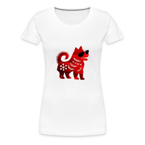 roter Hund Scherenschnitt 2 - Frauen Premium T-Shirt