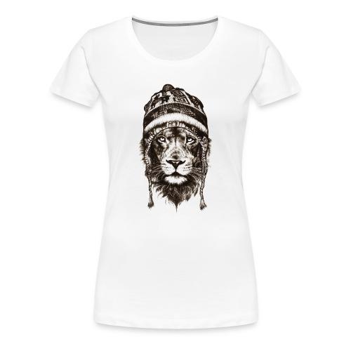 Löwe Mütze Schwarz König Tiere TShirt - Frauen Premium T-Shirt