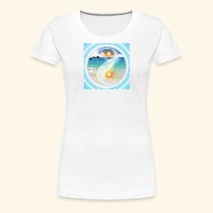 Yin Yang beach scene white - Women's Premium T-Shirt