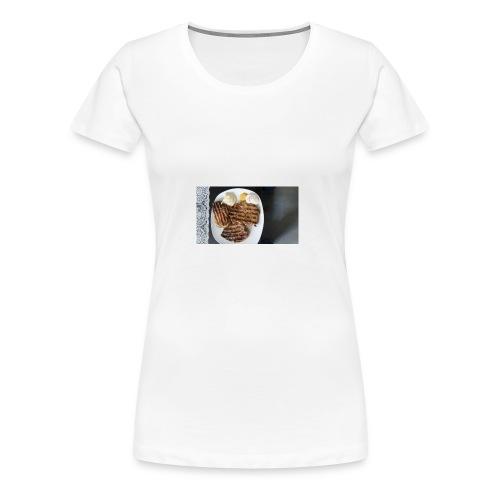 Fleisch auf Teller mit Sauce - Frauen Premium T-Shirt